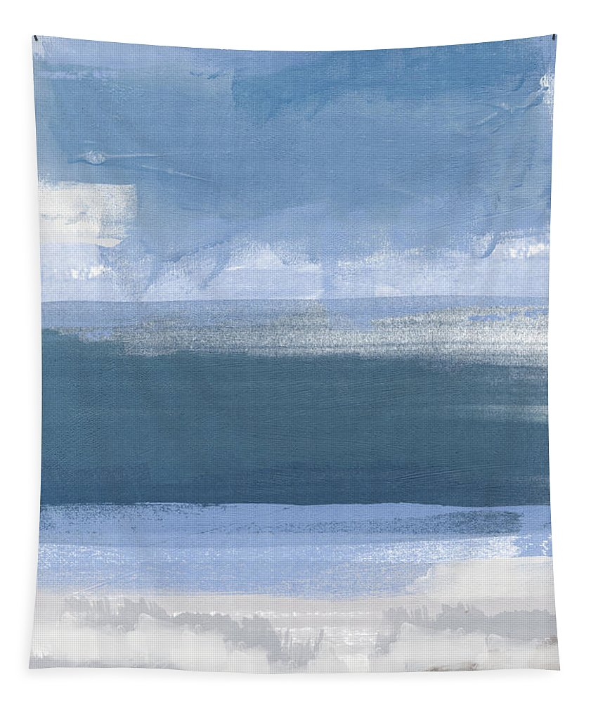 Coastal Tapestry featuring the painting Coastal- Abstract Landscape Painting by Linda Woods