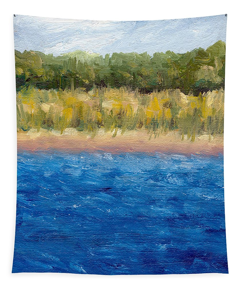 Lake Tapestry featuring the painting Coastal Dunes 2.0 by Michelle Calkins
