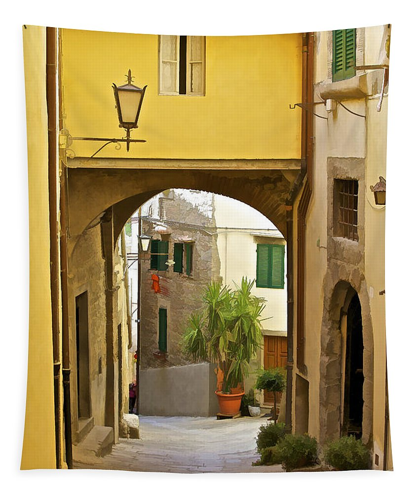 Alley Tapestry featuring the photograph Cobblestone Street Of Tuscany by David Letts