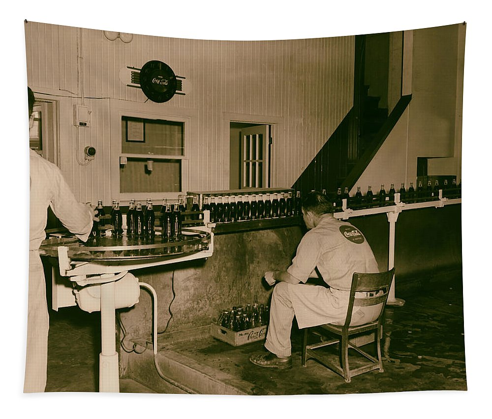 Fort Scott Tapestry featuring the photograph Coca Cola Bottling Line 1950s by Mountain Dreams