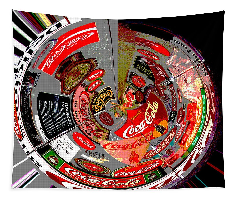 Digital Art Tapestry featuring the photograph Coca Cola Signs In The Round Posterized by Marian Bell