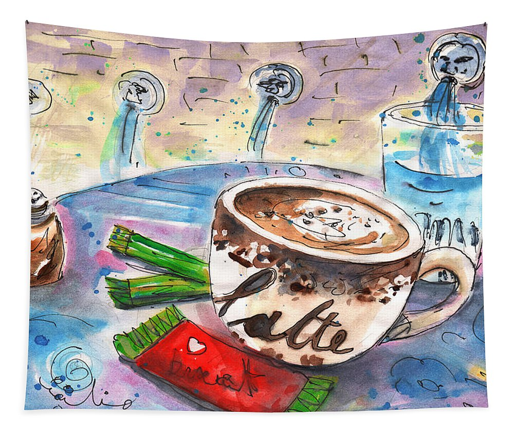 Travel Sketch Tapestry featuring the painting Coffee Break In Spili In Crete by Miki De Goodaboom