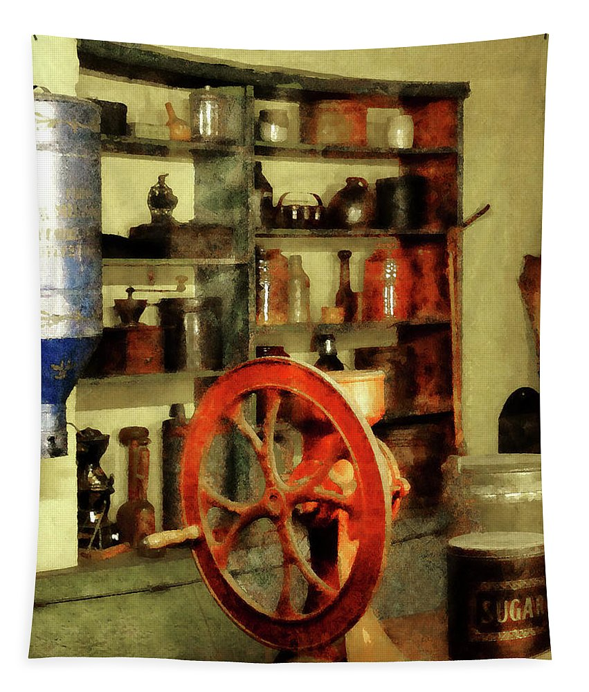 Coffee Grinder Tapestry featuring the photograph Coffee Grinder And Canister Of Sugar by Susan Savad