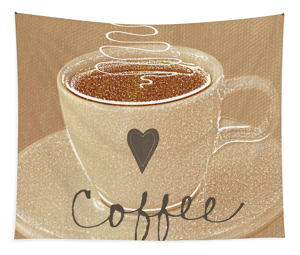 Coffee Tapestry featuring the painting Coffee Love In Mocha by Linda Woods