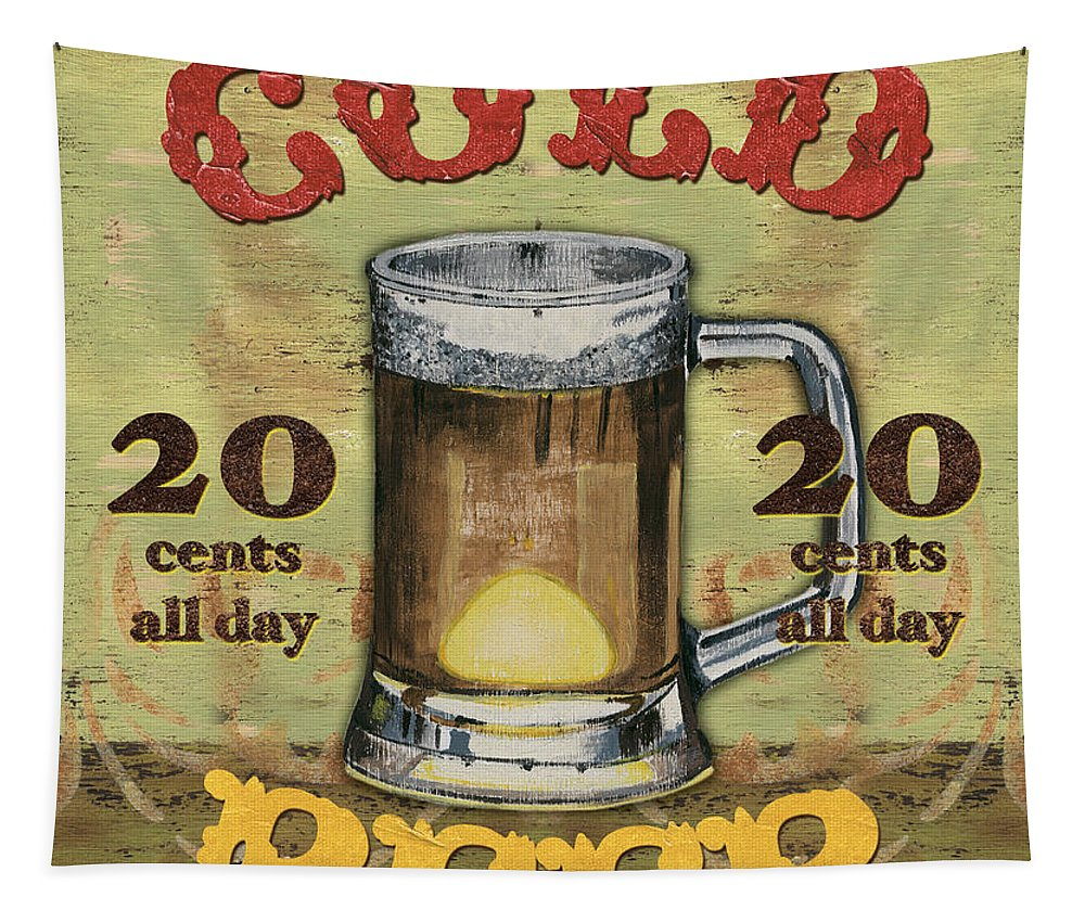 Food Tapestry featuring the painting Cold Beer by Debbie DeWitt
