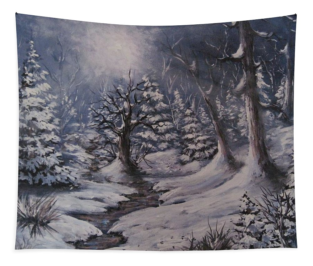 Winter Landscape Tapestry featuring the painting Cold Snap by Megan Walsh