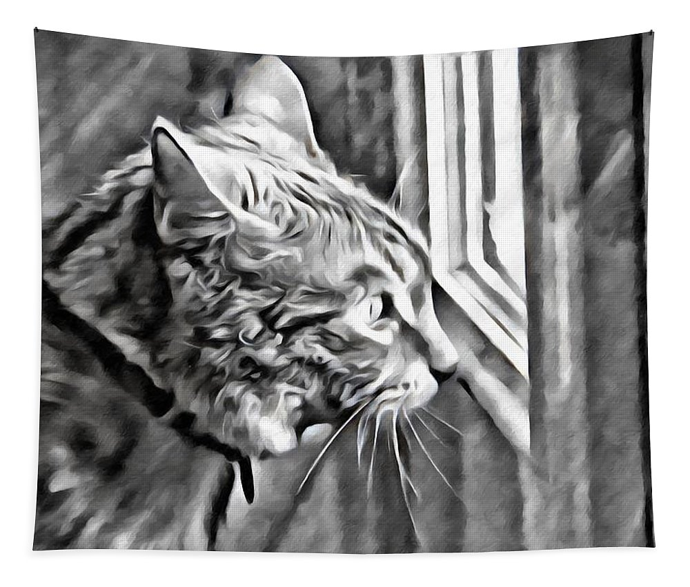 Cat Tapestry featuring the photograph Cole Kitty Watchful by Alice Gipson