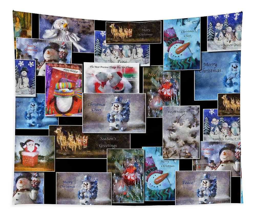 Collage Tapestry featuring the photograph Collage Xmas Cards Horz Photo Art by Thomas Woolworth