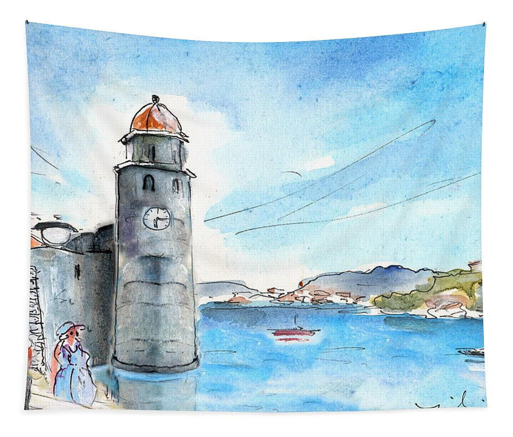 Travel Tapestry featuring the painting Collioure Tower by Miki De Goodaboom