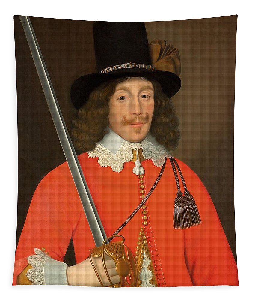 Male Tapestry featuring the painting Colonel John Hutchinson, C.1643 by John Souch