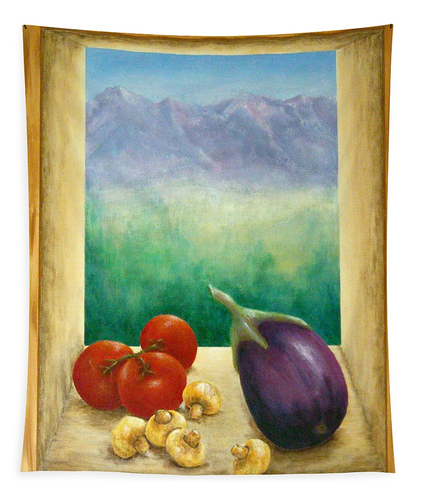 Pamela Allegretto Tapestry featuring the painting Colorado Mountain View by Pamela Allegretto