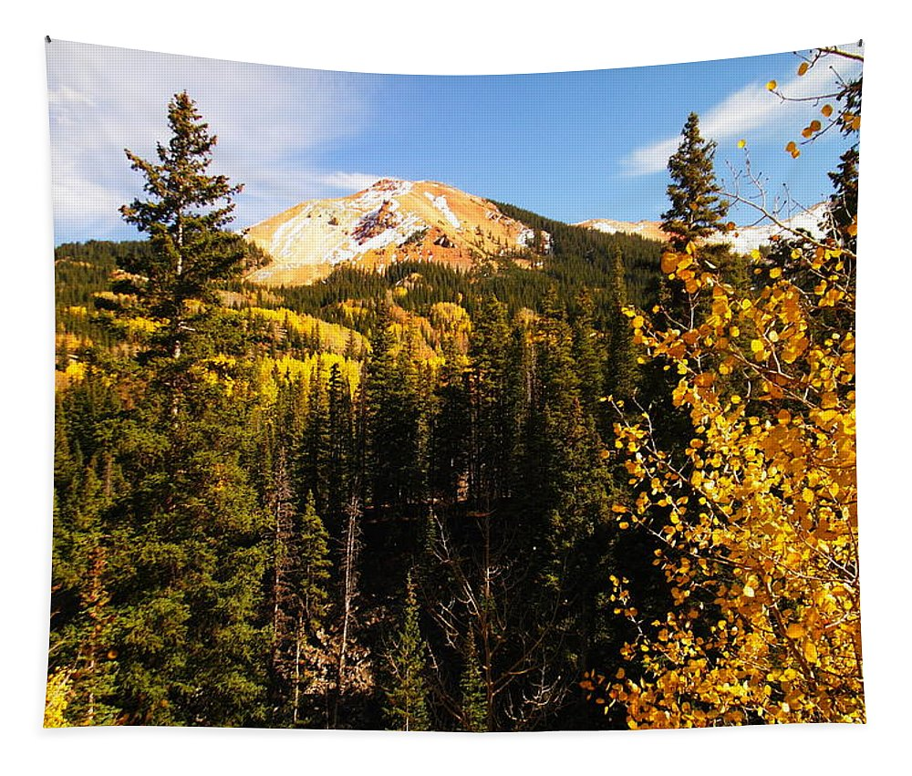 Autumn. Orange Tapestry featuring the photograph Colorado Mountains by Jeff Swan