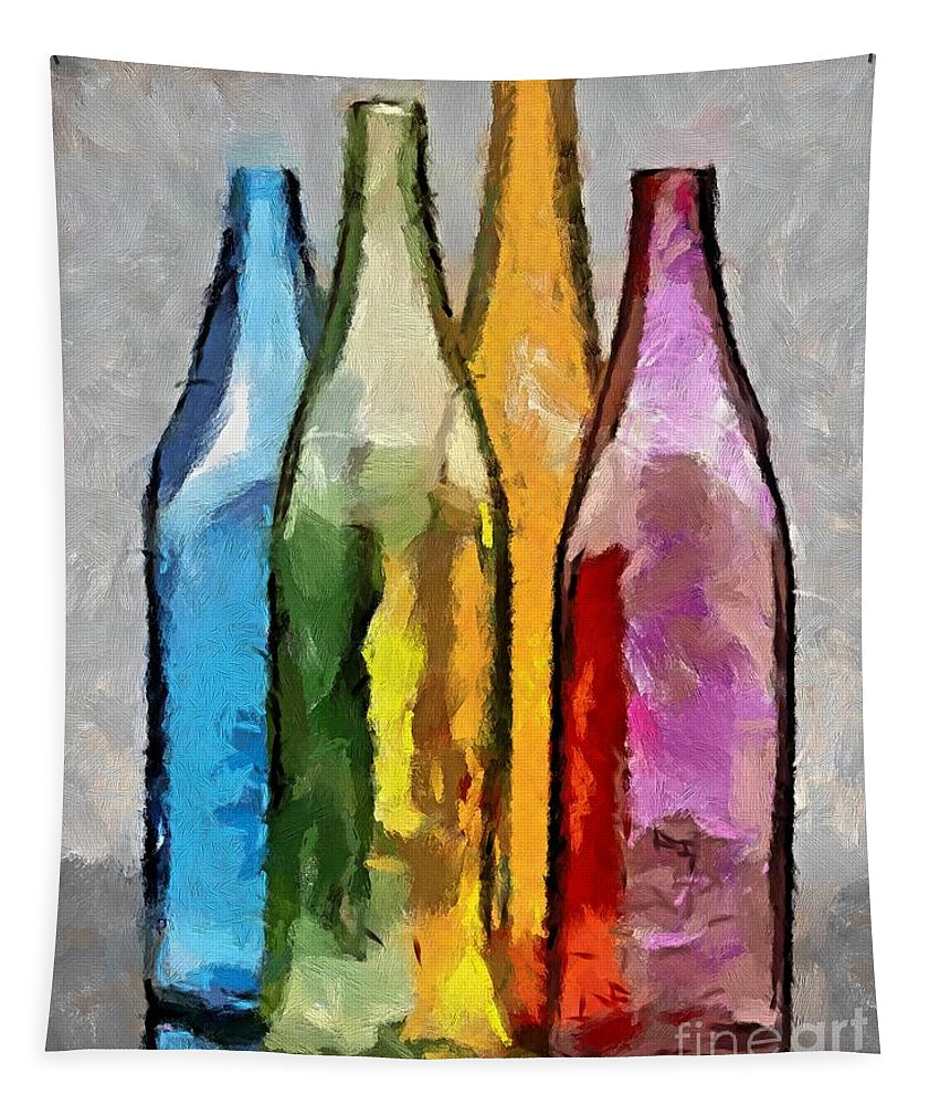 Still Life Tapestry featuring the painting Colored Glass Bottles by Dragica Micki Fortuna