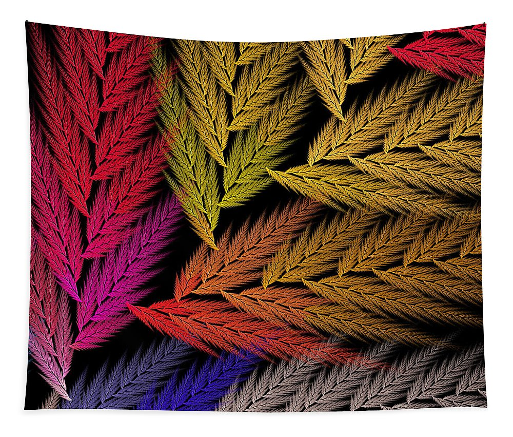 Abstract Tapestry featuring the digital art Colorful Feather Fern - Abstract - Fractal Art - Square - 2 Tr by Andee Design