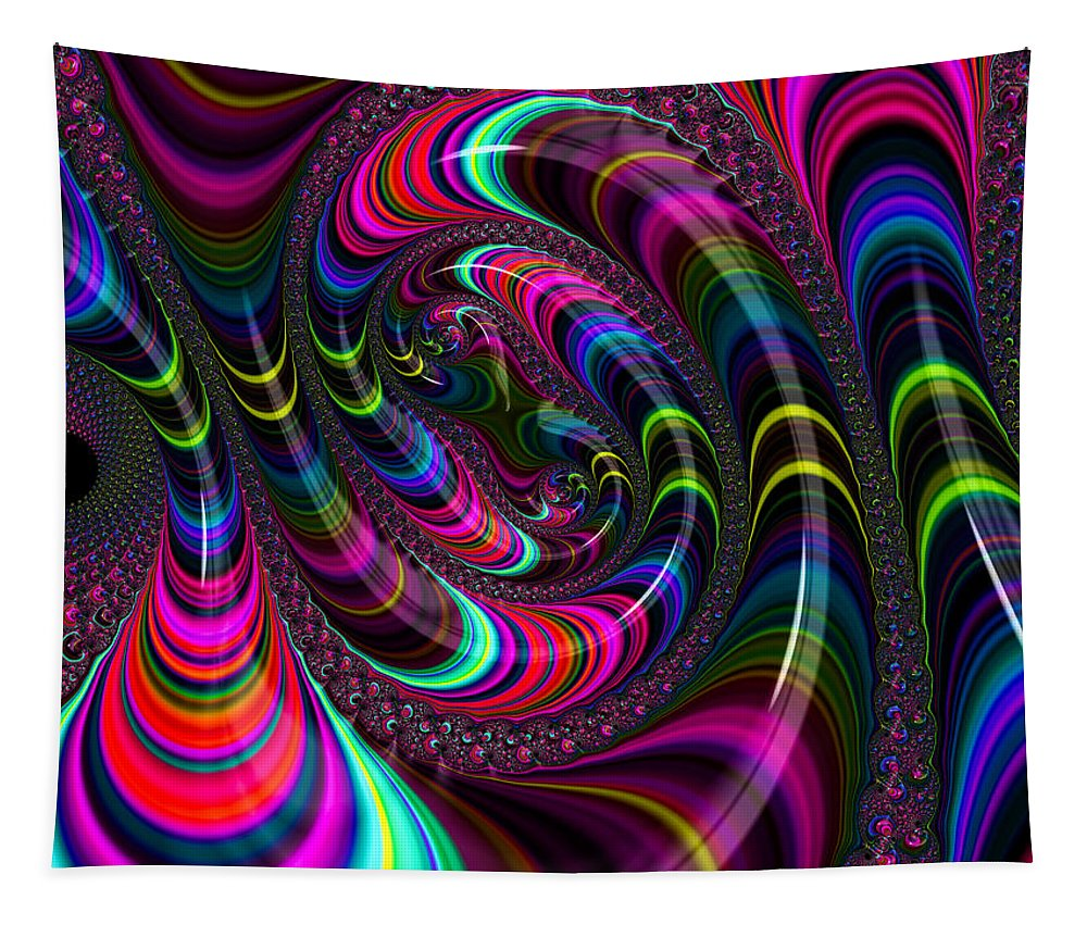 Fractal Tapestry featuring the digital art Colorful Fractal Art by Matthias Hauser