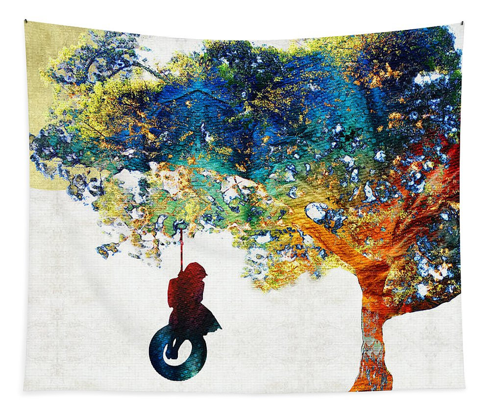 Tree Tapestry featuring the painting Colorful Landscape Art - The Dreaming Tree - By Sharon Cummings by Sharon Cummings