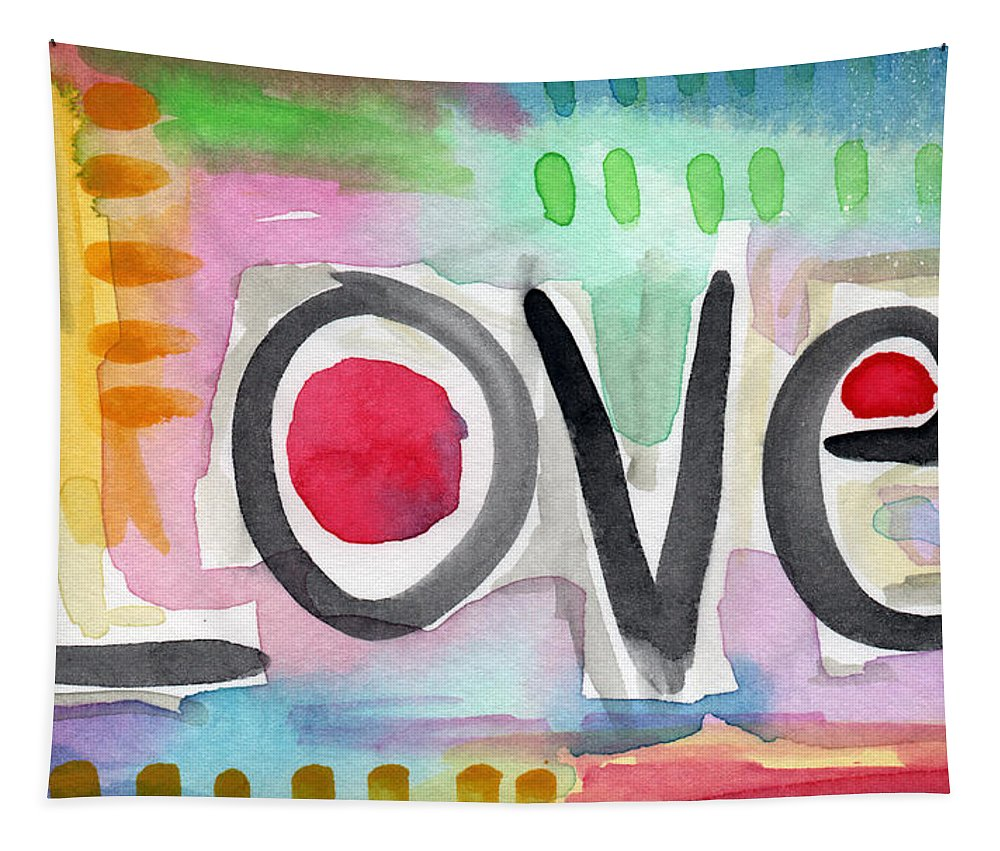 Love Tapestry featuring the painting Colorful Love- painting by Linda Woods