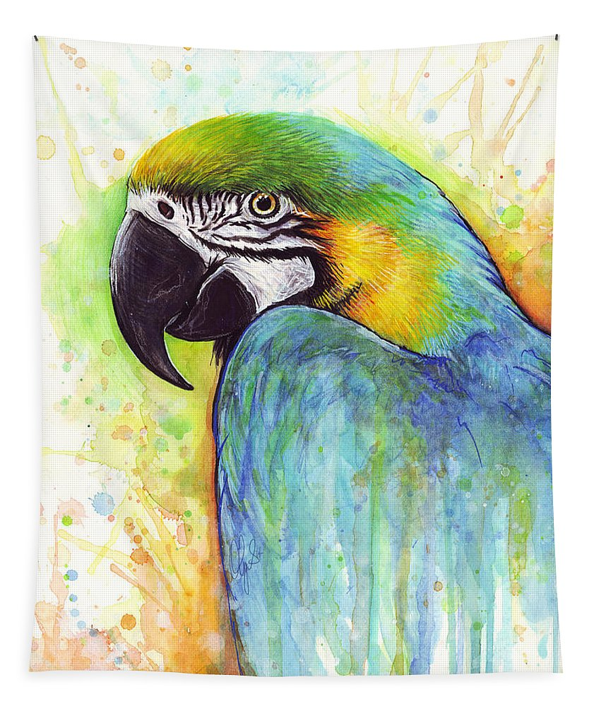 Watercolor Painting Tapestry featuring the painting Macaw Painting by Olga Shvartsur