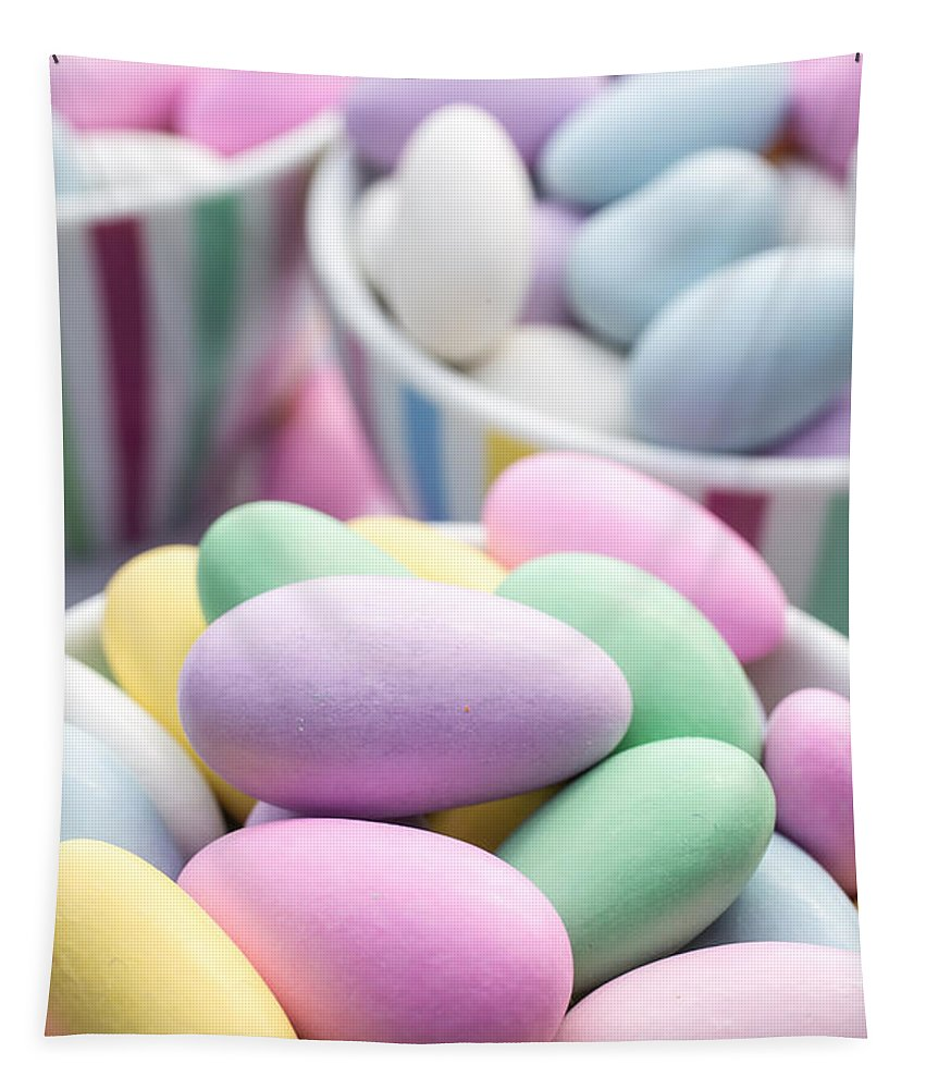 Food Tapestry featuring the photograph Colorful Pastel Jordan Almond Candy by Edward Fielding