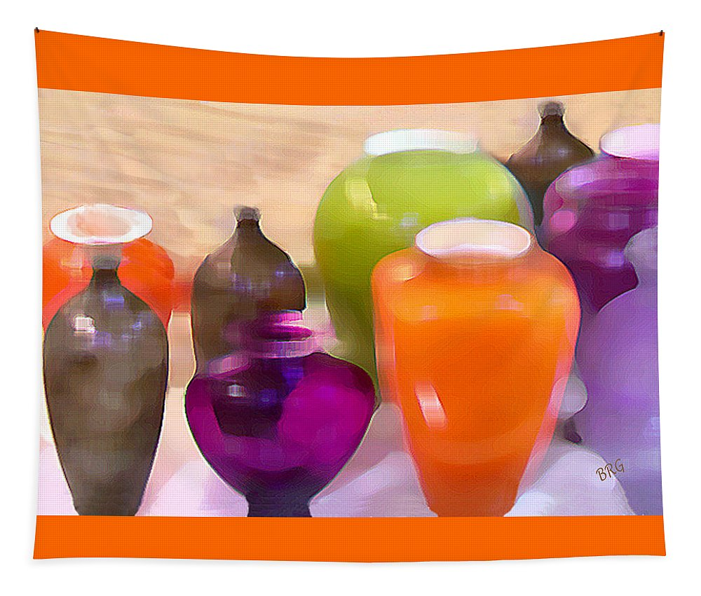Vase Tapestry featuring the digital art Colorful Vases I - Still Life by Ben and Raisa Gertsberg