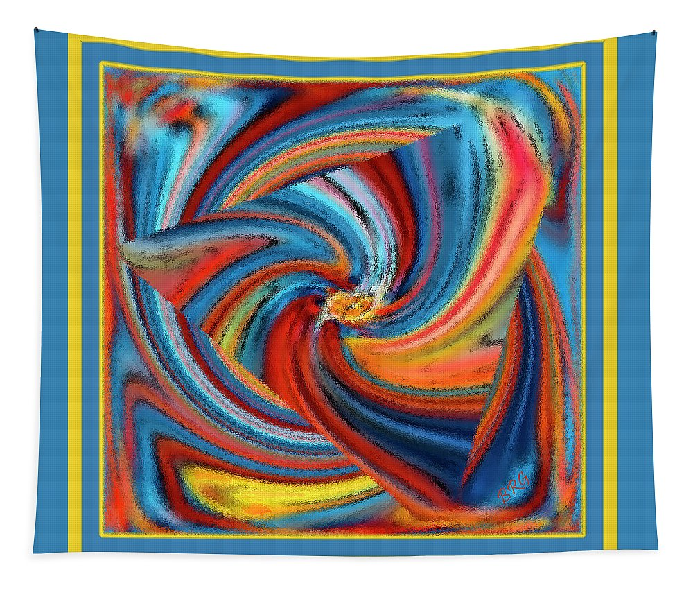 Geometric Abstract Tapestry featuring the digital art Colorful Waves by Ben and Raisa Gertsberg
