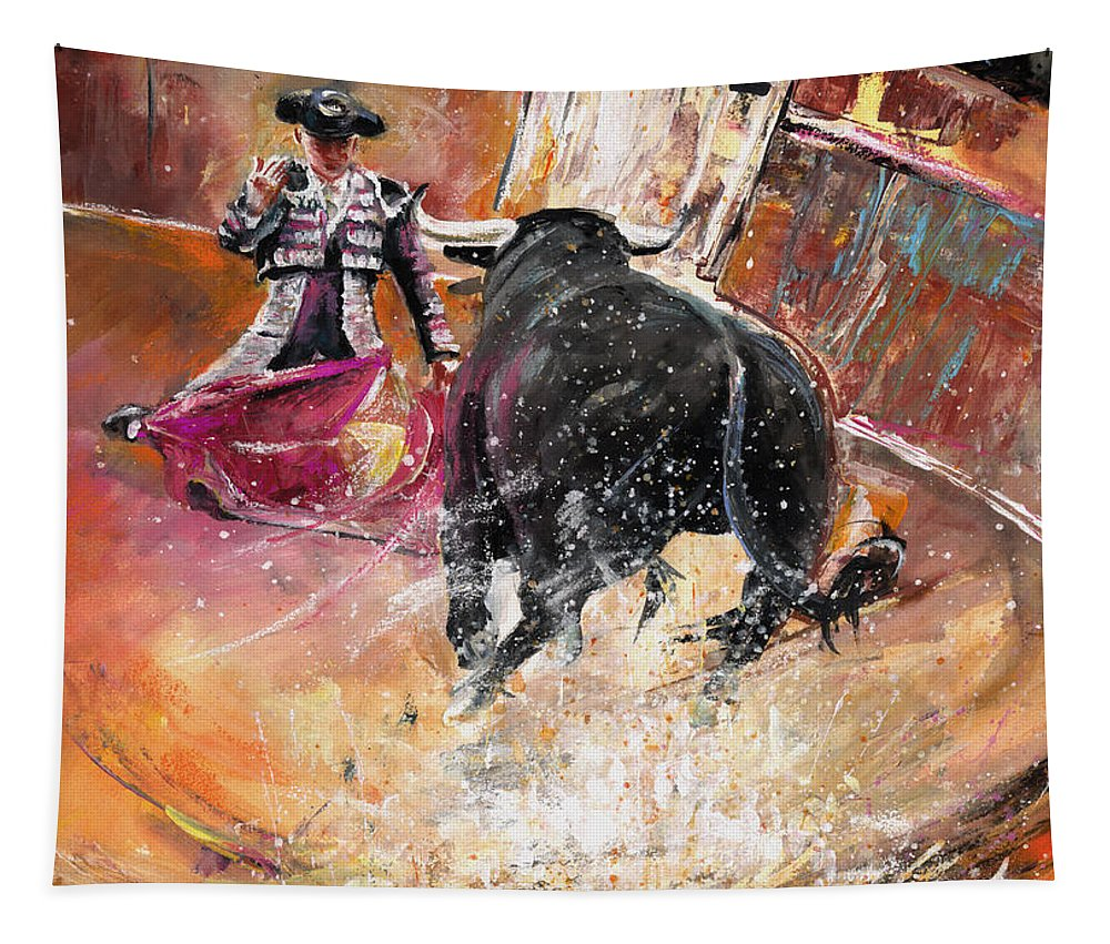 Bullfight Tapestry featuring the painting Come If You Dare by Miki De Goodaboom