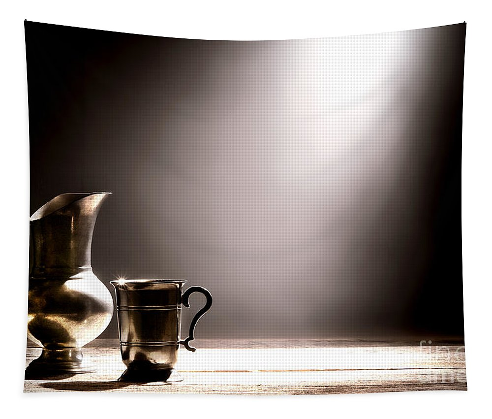 Pewter Tapestry featuring the photograph Come Let Us Drink About by Olivier Le Queinec