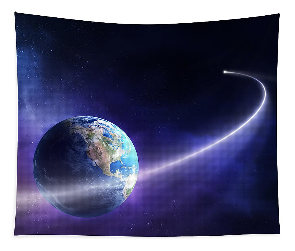 Art Tapestry featuring the photograph Comet Moving Past Planet Earth by Johan Swanepoel