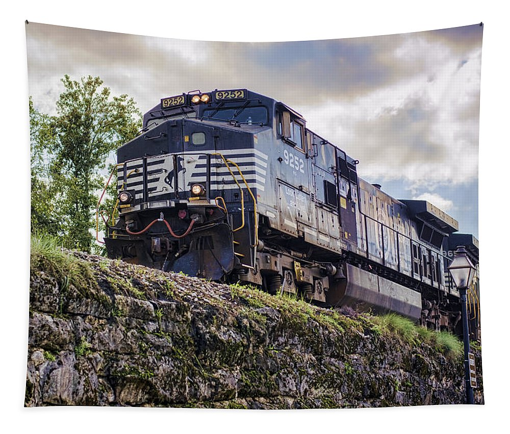 Jonesborough Tapestry featuring the photograph Coming Down The Tracks by Heather Applegate