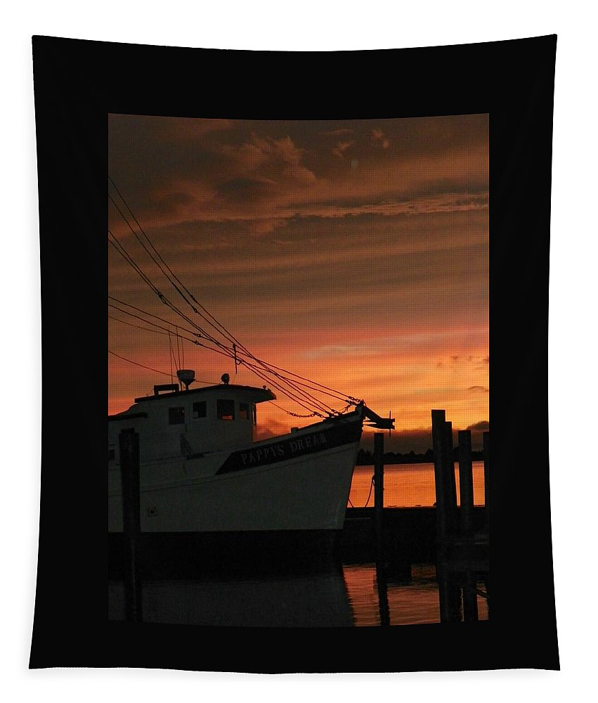 Shrimp Boat Tapestry featuring the photograph Coming Home... by Karen Wiles