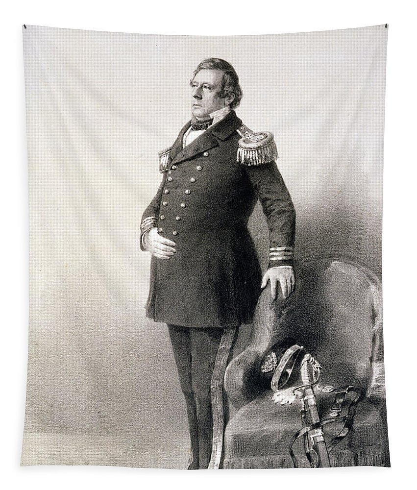 American Naval Officer Tapestry featuring the painting Commodore Matthew Calbraith Perry by Wilhelm Heine