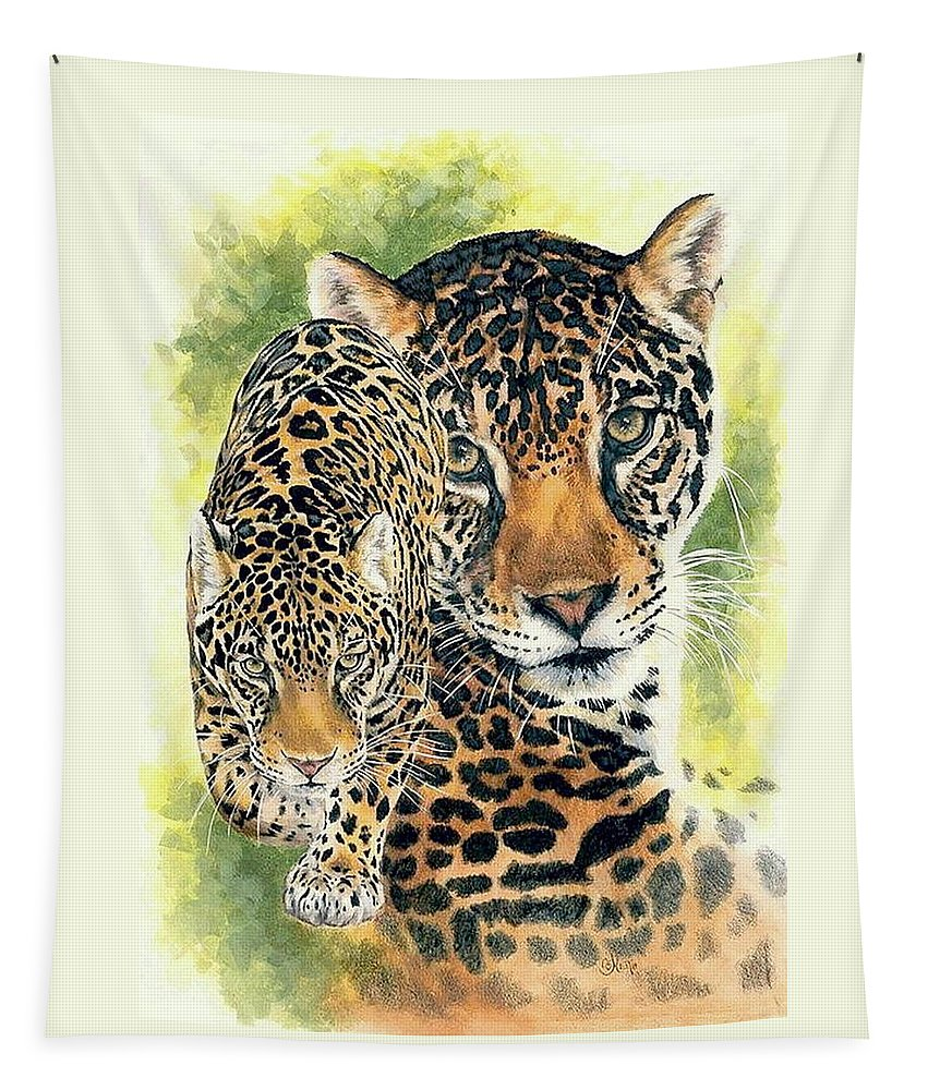 Jaguar Tapestry featuring the mixed media Compelling by Barbara Keith