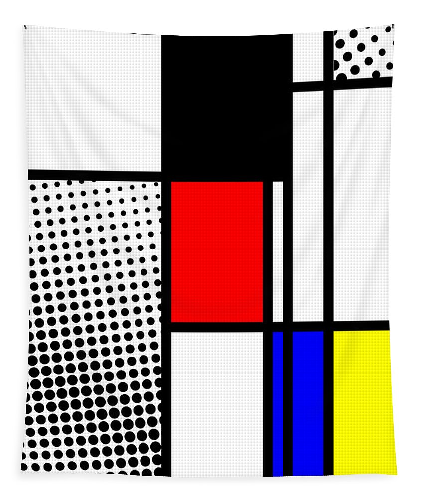 Mondrian Tapestry featuring the mixed media Composition 100 by Dominic Piperata