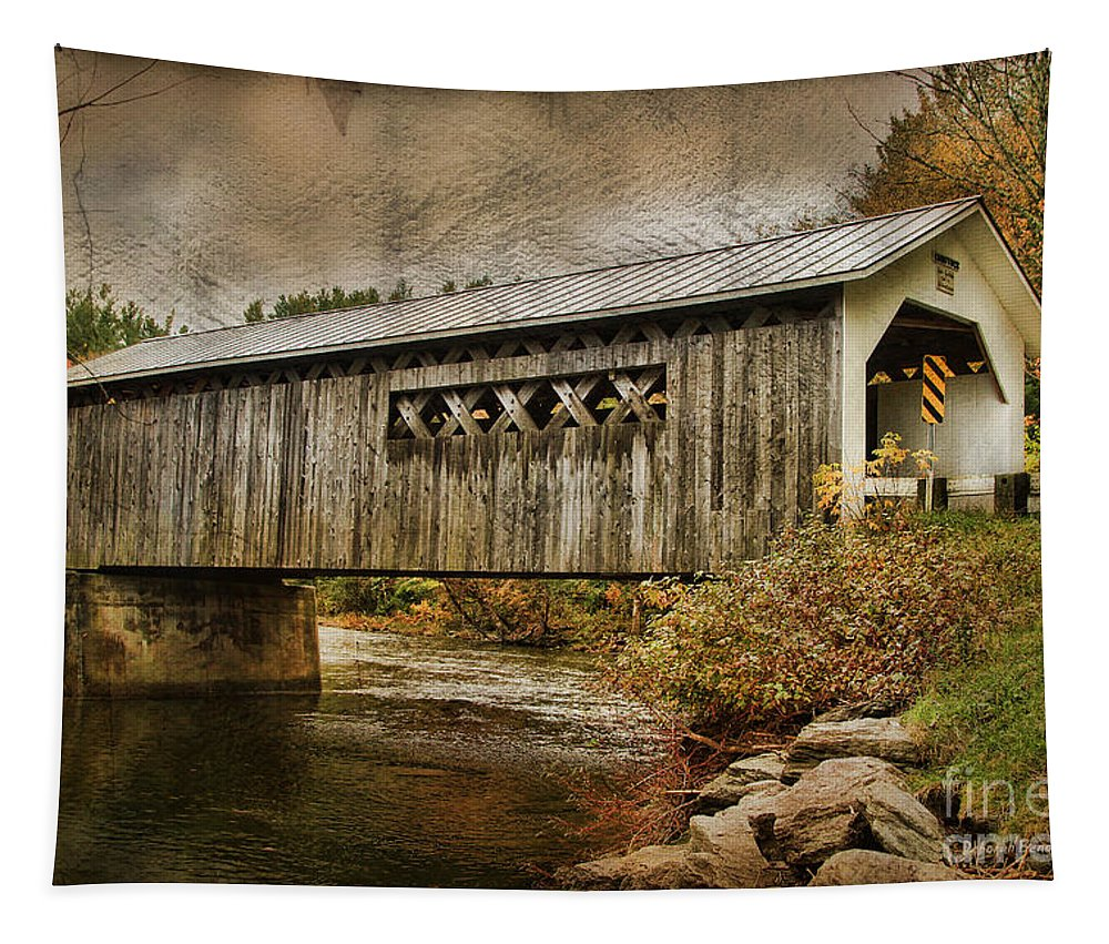 Vermont Bridge Tapestry featuring the photograph Comstock Bridge 2012 by Deborah Benoit