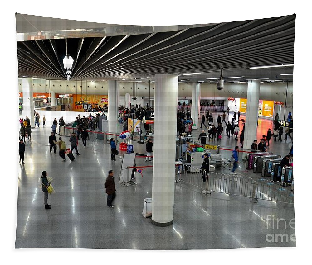 Station Tapestry featuring the photograph Concourse At People's Square Subway Station Shanghai China by Imran Ahmed