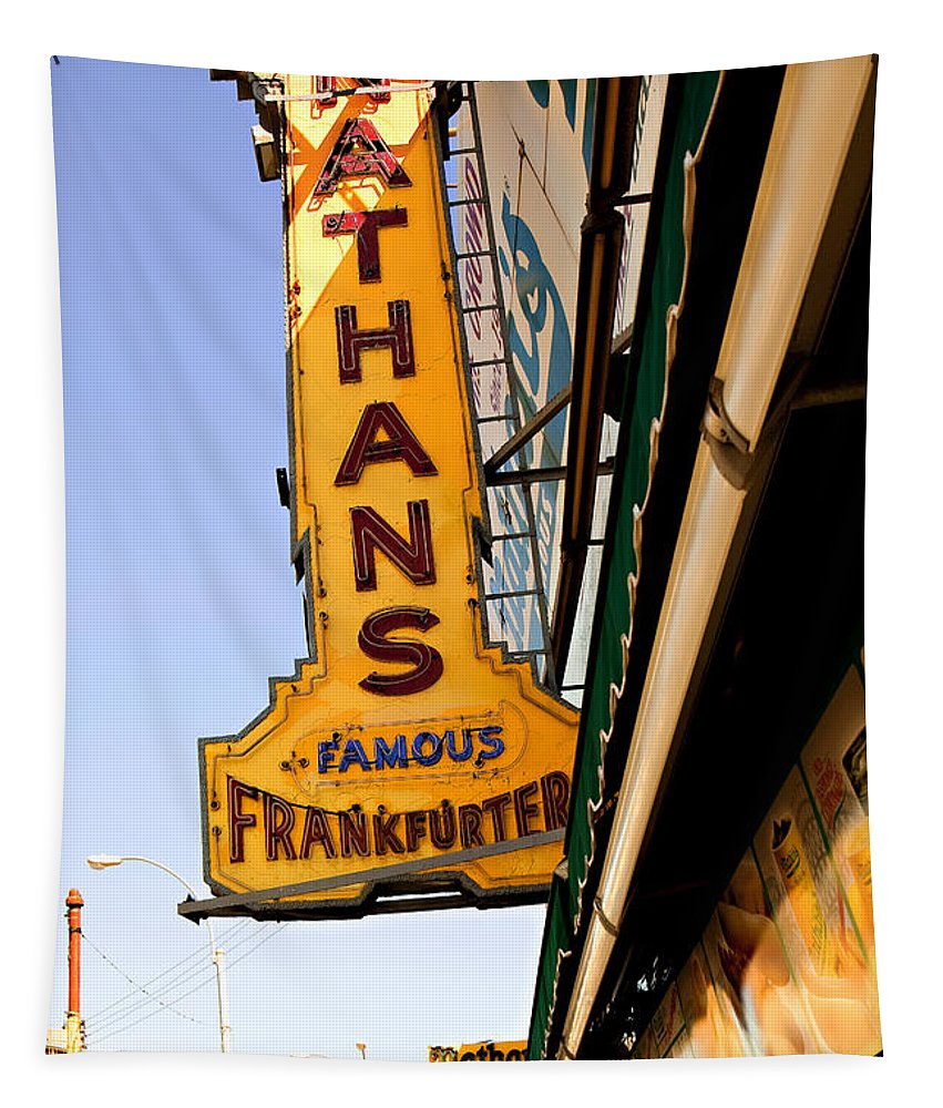 Original Nathans Tapestry featuring the photograph Coney Island Memories 1 by Madeline Ellis