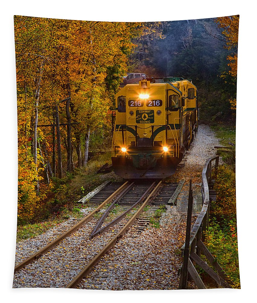 New Hampshire Tapestry featuring the photograph Conway Scenic Railway by Jerry Fornarotto