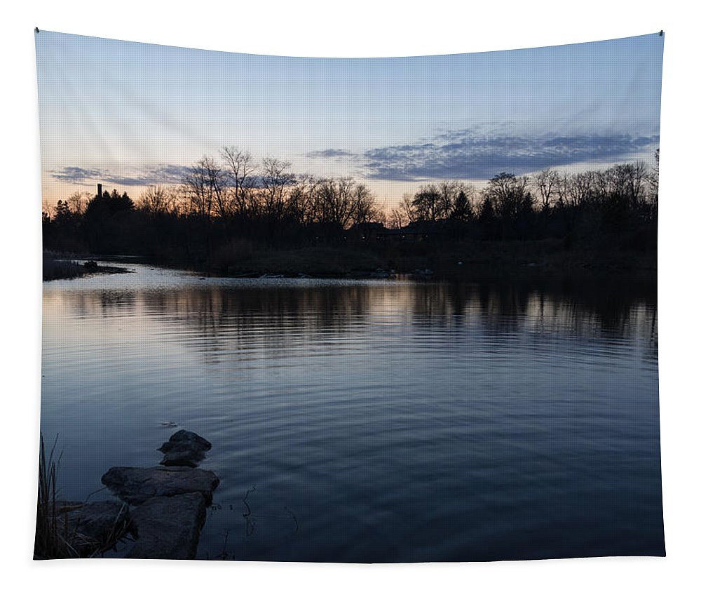 Cool Blue Ripples Tapestry featuring the photograph Cool Blue Ripples - Lake Shore Eventide by Georgia Mizuleva