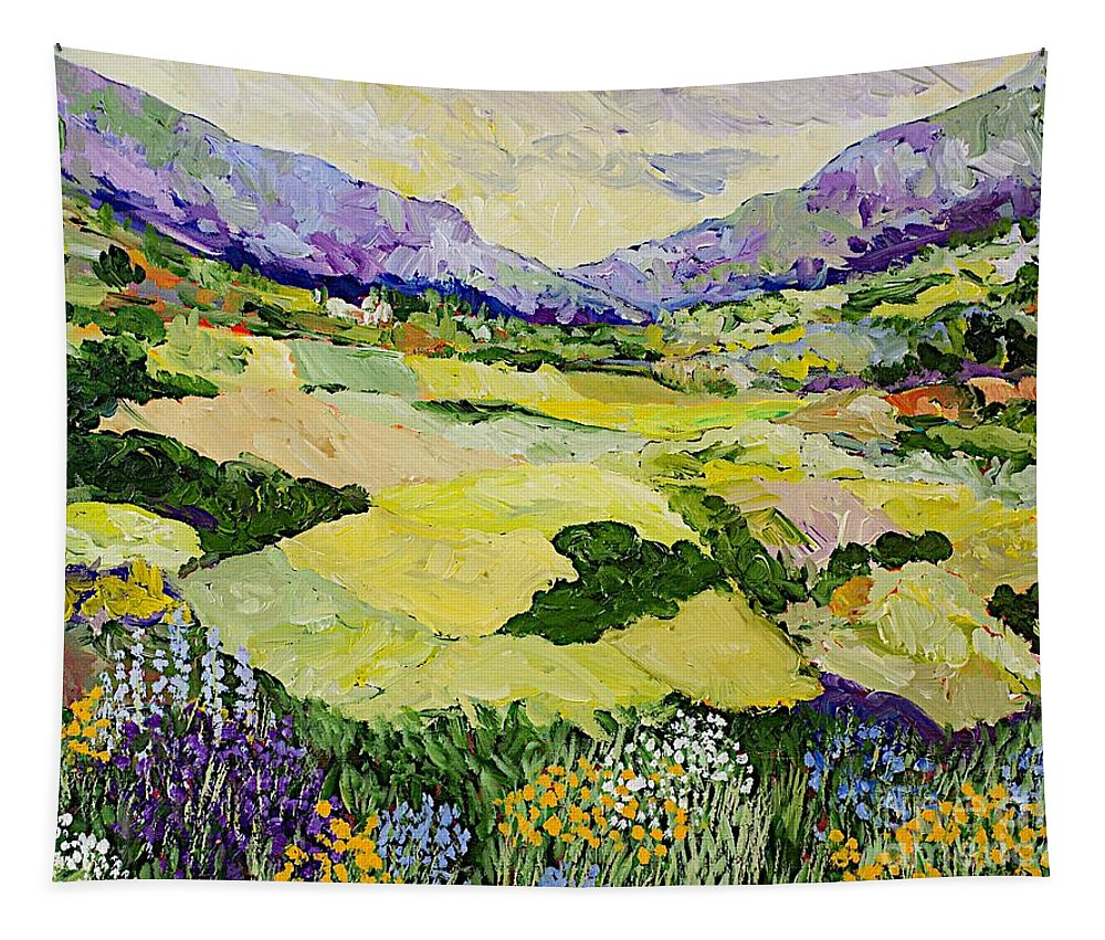 Landscape Tapestry featuring the painting Cool Grass by Allan P Friedlander