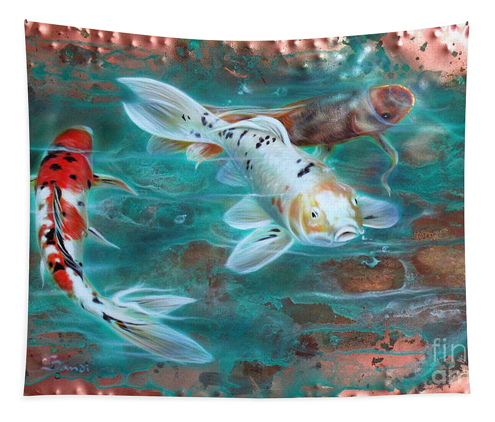 Copper Tapestry featuring the painting Copper Koi by Sandi Baker