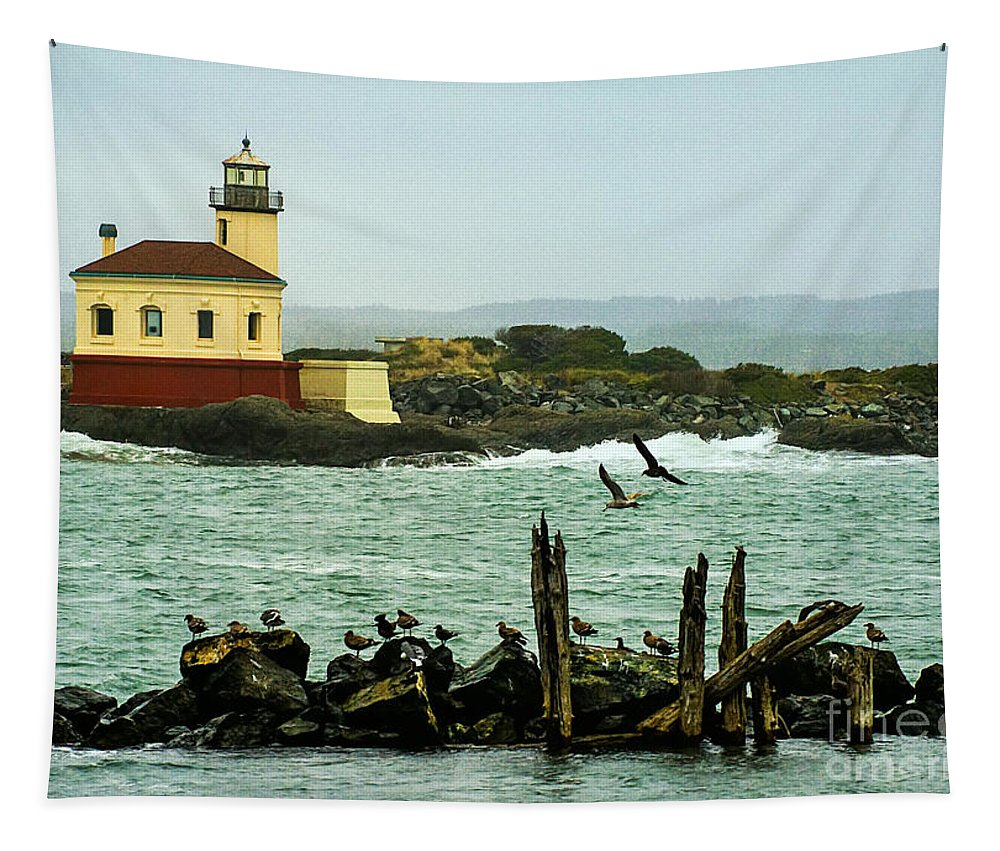 Coquille River Lighthouse And Birds Tapestry featuring the photograph Coquille River Lighthouse And Birds by Priscilla Burgers