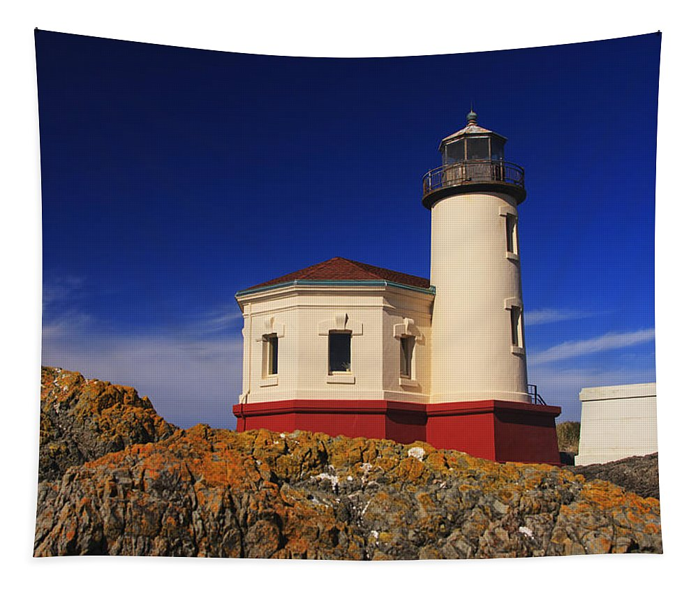 Bandon Tapestry featuring the photograph Coquille River Lighthouse by Mark Kiver