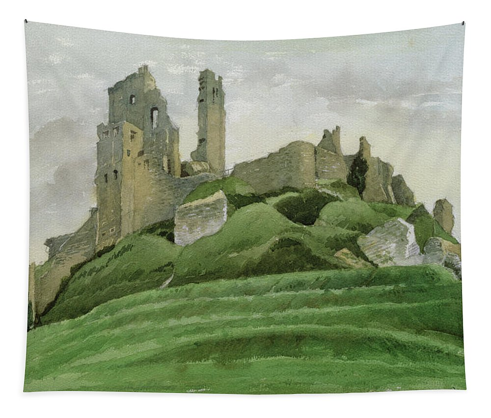 Ruin Tapestry featuring the drawing Corfe Castle by Osmund Caine