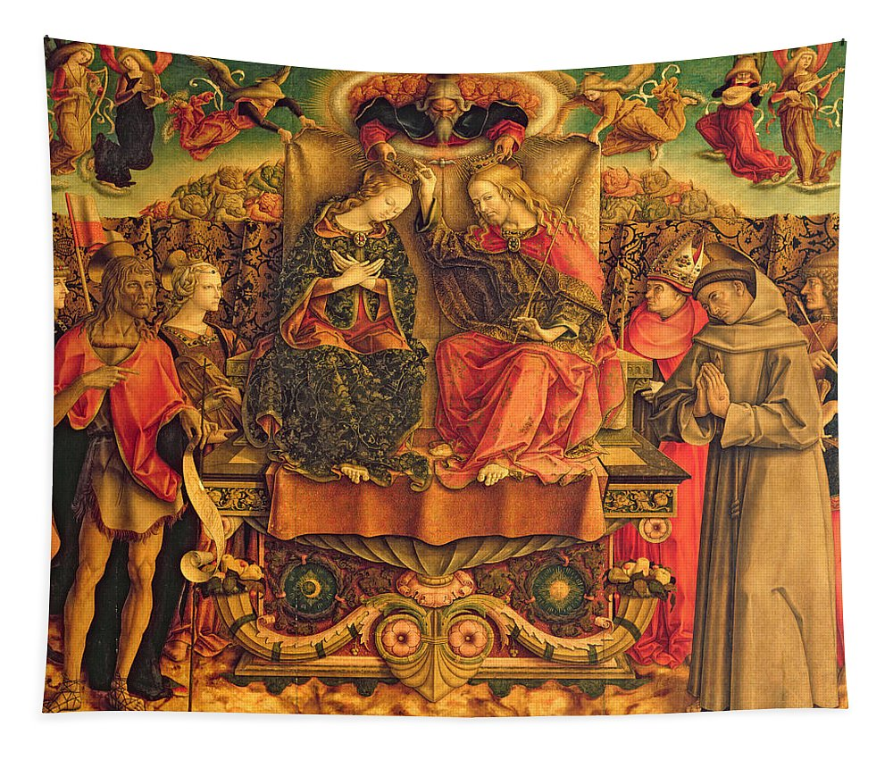 Crivelli Tapestry featuring the painting Coronation Of The Virgin by Carlo Crivelli