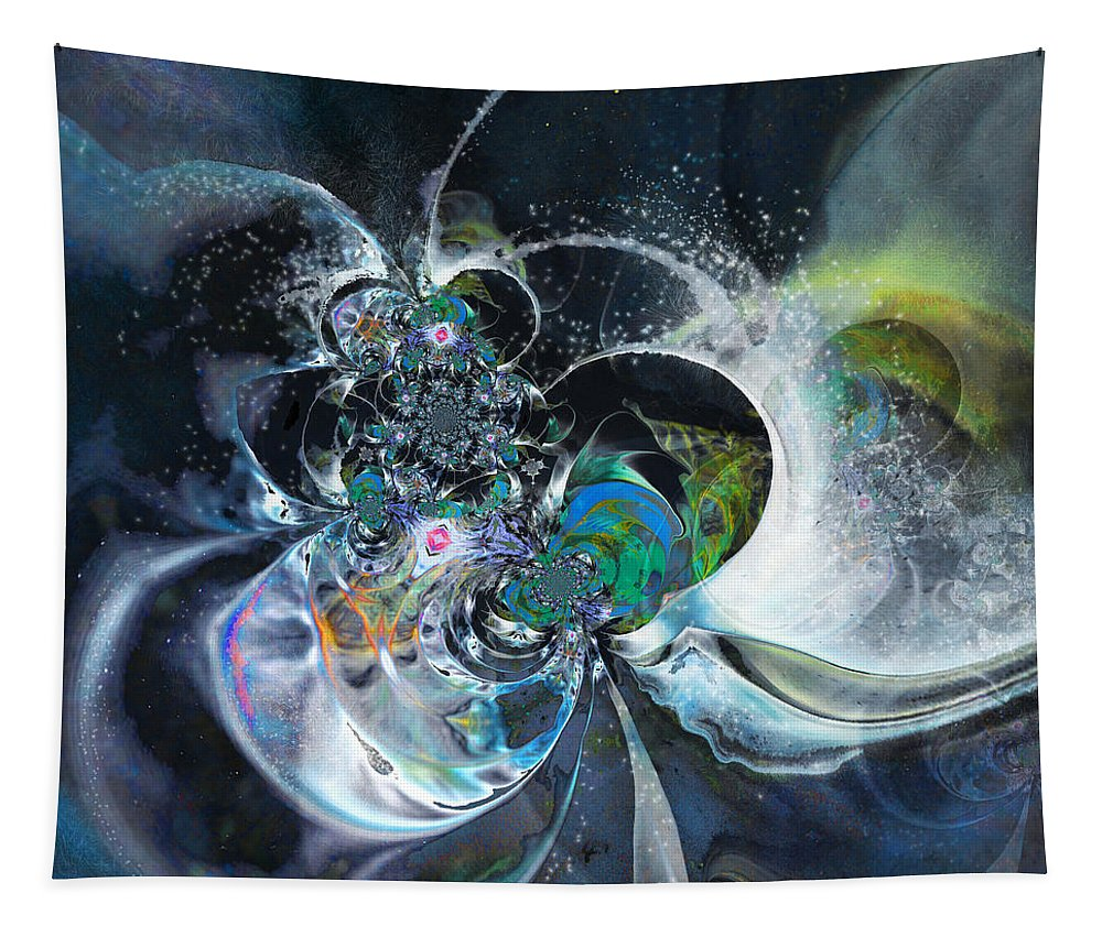 Fractal Tapestry featuring the painting Cosmic Spider by Miki De Goodaboom