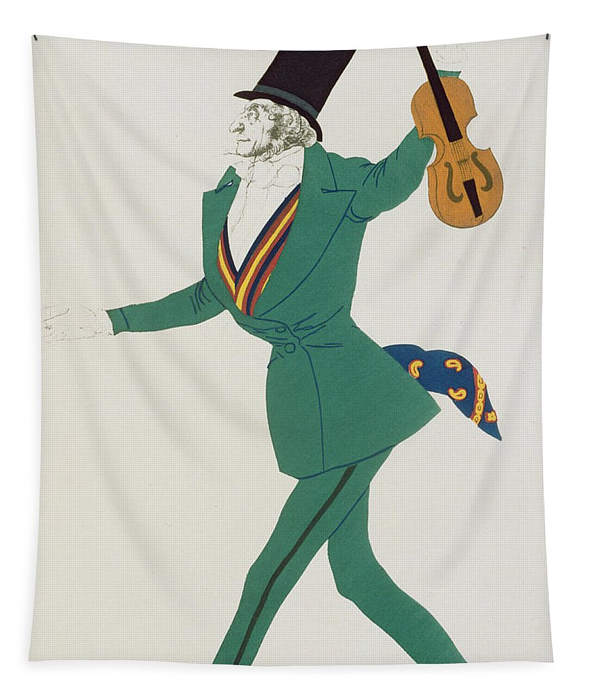 Leon Bakst Tapestry featuring the painting Costume Design For Paganini In The Enchanted Night by Leon Bakst