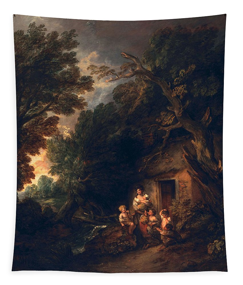 Male Tapestry featuring the painting Cottage Door, C.1780 by Thomas Gainsborough