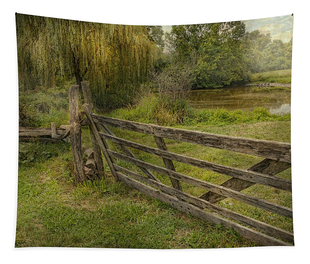 Savad Tapestry featuring the photograph Country - Gate - Rural Simplicity by Mike Savad