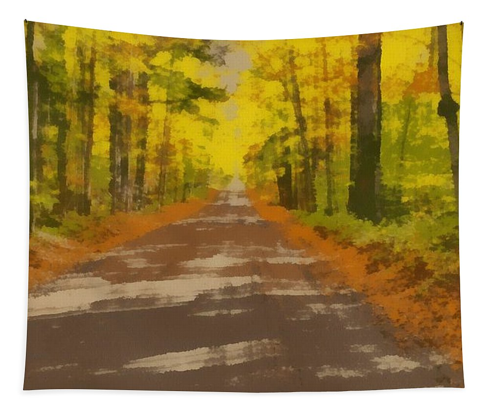 Country Road In Autumn Tapestry featuring the painting Country Road In Autumn by Dan Sproul