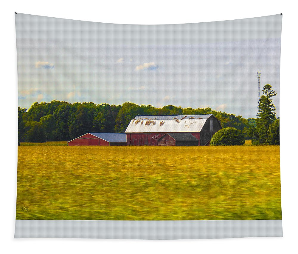 Landscape Tapestry featuring the photograph Countryside Landscape With Red Barns by Ben and Raisa Gertsberg
